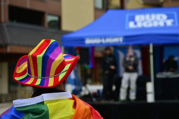 A man listens to the live DJ on Saturday at the first-ever Breck Pride Week at Breckenridge.