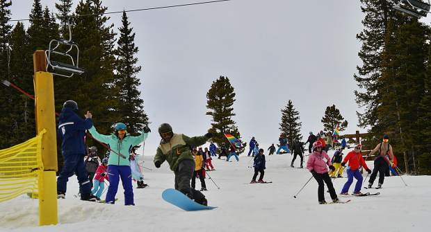 Skiers head down the mountain Saturday during the Color Run Parade, one of a number of events tied into the first-ever Breck Pride Week at Breckenridge.