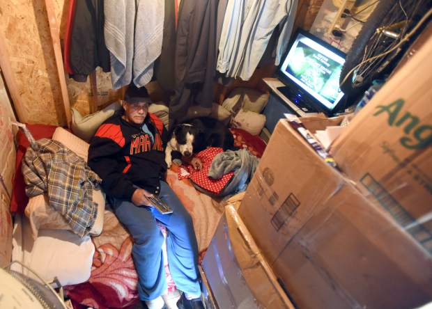 John Delgado sits in a shed he calls home behind a home in Evans. Delgado, a 65-year-old U.S. Marine and Vietnam veteran, was once one of numerous homeless veterans who struggle to take advantage of resources available to them. An effort from Larimer and Weld counties hopes to help veterans like him.