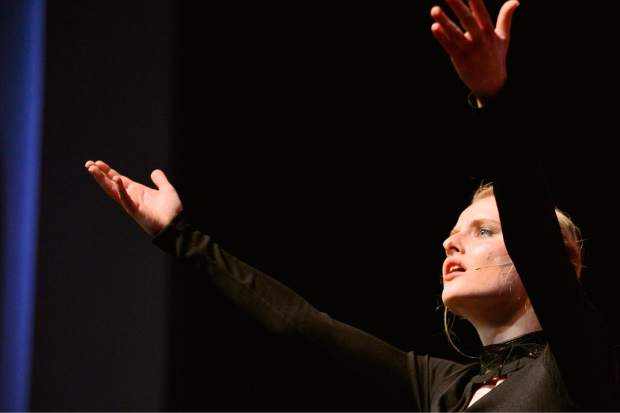 Claire Davidson performs Tuesday during a rehearsal for Summit High School's spring musical