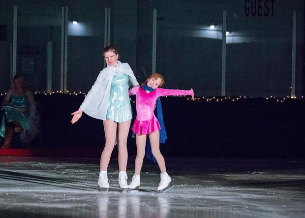 Fiona and Katrina Baird perform March 25 for the Stephen C. West Ice Arena's spring skating exhibition
