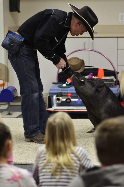Digger gets his reward after performing a trick during the Top Hogs animal trick show Wednesday at the Summit County Library's Main Library in Frisco.