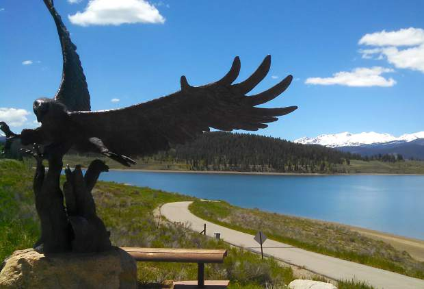 The scenic overlook on U.S. 36 just outside of Dillon offers stunning views of Lake Dillon and connects with the 18-mile bike route that circles the lake and passes over Swan Mountain Road.