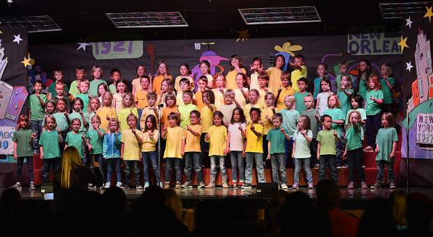 "Students from Breckenridge Elementary perform in their spring program, ""We Haz Jazz,"" Tuesday at the school, with the children playing the parts of the greats like Dizzy Gilespie, Charlie Parker, Louis Armstrong and more."