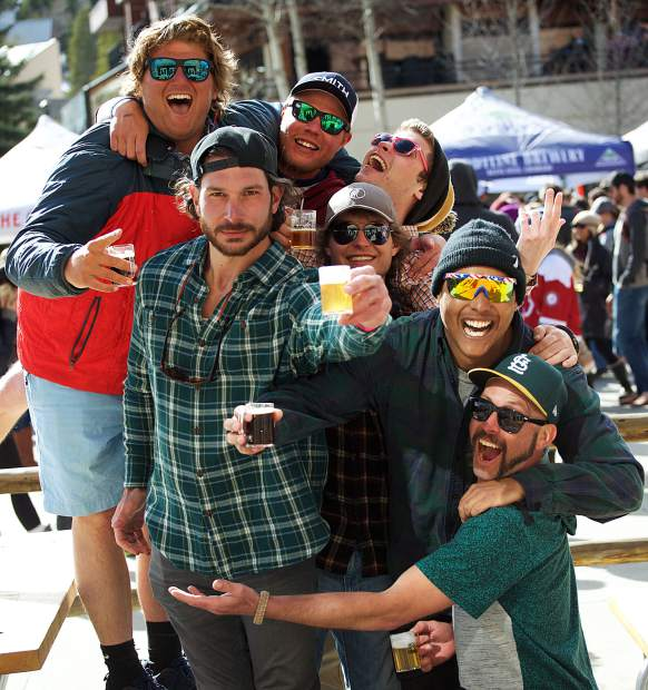 With Dan Bannach, 28, front left raising his glass, a group from Breckenridge celebrates a day of good beer drinking April 7 at the Spring Beer Festival in Breckenridge. The Summer Beer Festival will be July 8.