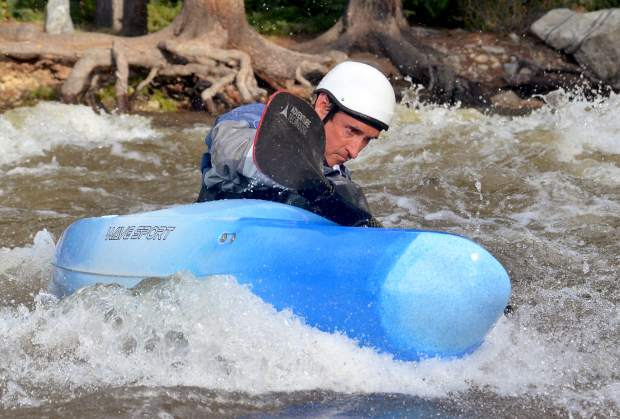A kayaker paddles to an eddy shortly after dropping into Tenmile Creek from Officer's Gulch, found about 4 miles outside of Frisco, in 2016. Local boaters recommend dryland training and easy paddling on flat water during May to get prepared for the summer season to come.