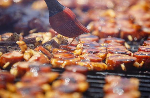 Meat and seafood kebabs during the annual Colorado BBQ Challenge Friday, June 16, on Main Street in Frisco.