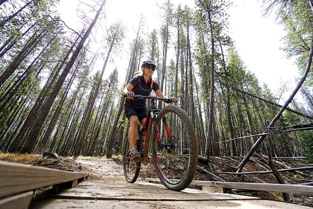 Katie Damby on Middle Flume trail, Breckenridge.