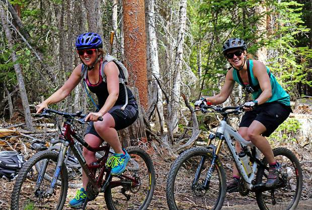 Rebecca Spiro (left) and Austyn Williams on Middle Flume trail, Breckenridge.