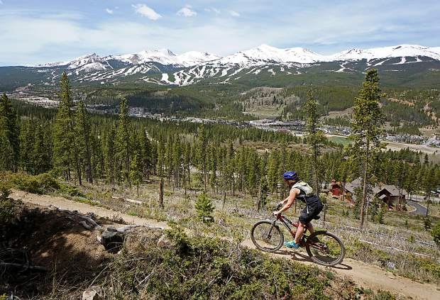 Rebecca Spiro on Upper Flume trail with views of Breckenridge Resort.