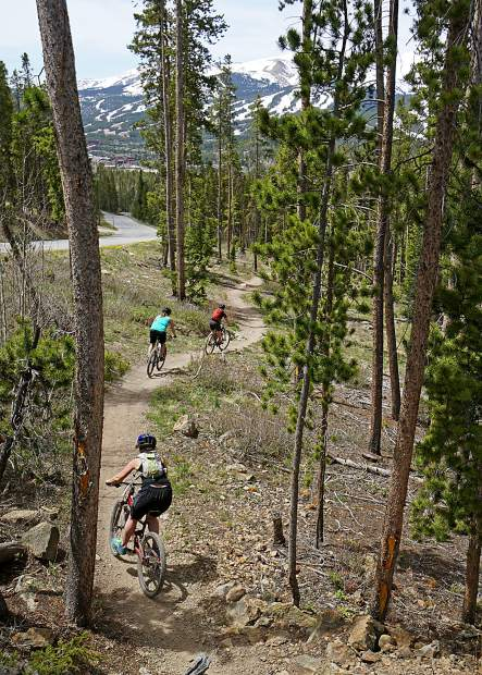 Katie Damby (top), Austyn Williams (middle) and Rebecca Spiro on the southern descent of Upper Flume trail, Breckenridge.