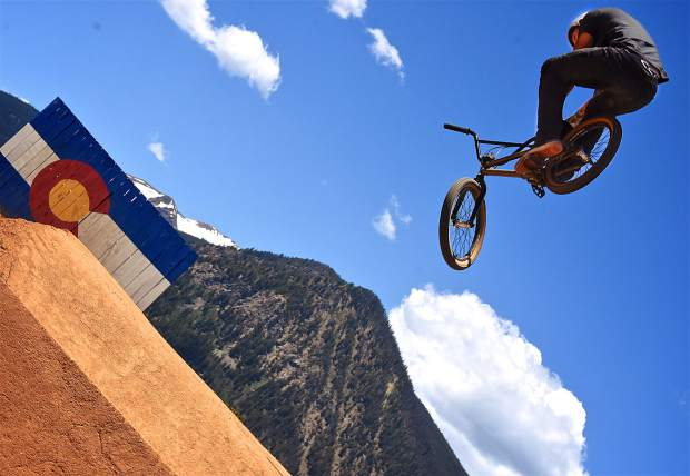 BMXer Nick Smith of Denver in the jump line at the Frisco Bike Park during the Frisco Bike Fling on June 24. More than 20 riders came for the free jump jam and dual-slalom races.