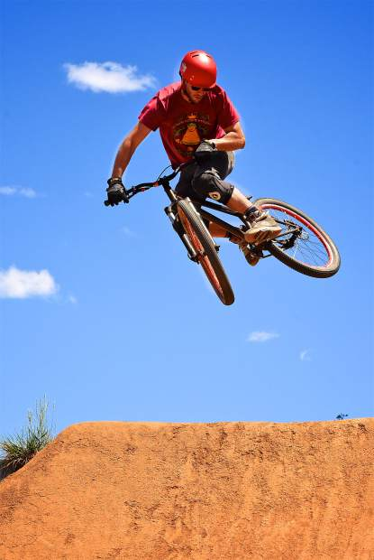Boulder's Mark Dilullo in the jump line during the Frisco Bike Fling at the Frisco Bike Park on June 24. More than 20 riders came for the free jump jam and dual-slalom races.