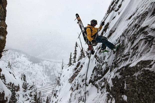 Frisco's Gary Fondl rappels into the Coin Slot, a backcountry line off of Mount Royal, this past ski season. Fondl set a lofty goal before the beginning of the season: 500,000 vertical feet for his 50th birthday, all in the backcountry with no lift access. He doesn't even have a ski pass.