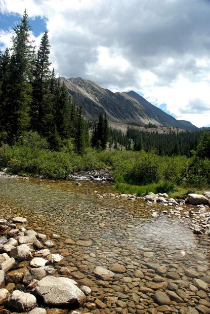 The creek crossing at three miles and 10,580 feet along the trail to the summit of Mount Antero (14,269 feet). The 14er is surrounded by other 14,000-foot peaks, including Mount Princeton (14,197 feet) to the north.