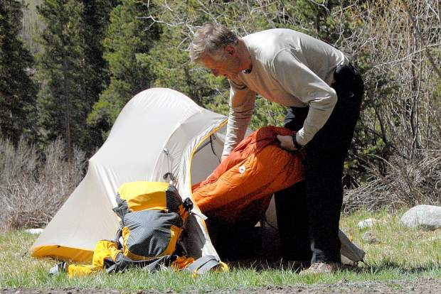 The author sets up camp at a prime location for dispersed camping near the creek crossing en route to Mount Antero (14,269 feet). The campsites are found three miles from the trailhead parking area at 10,580 feet.
