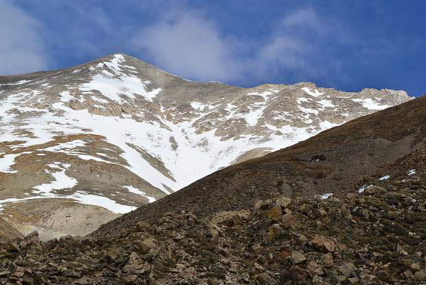 The summit of Mount Antero (14,269 fet) seen from the western slope approach at about 12,000 feet and 4.5 miles into the 14-mile round-trip hike.