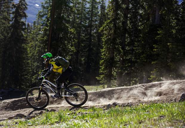 Mountain bikers compete in the Keystone Enduro race Saturday, June 24, at Keystone Resort.