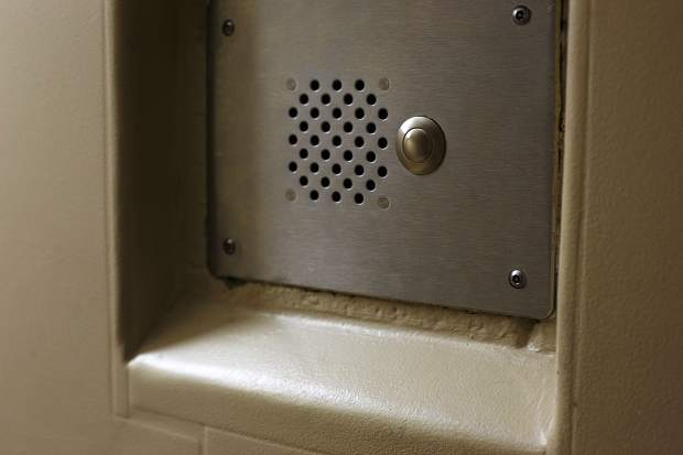 The intercom from inside a holding cell at the Summit County Jail Wednesday May 31, 2017, in Breckenridge.