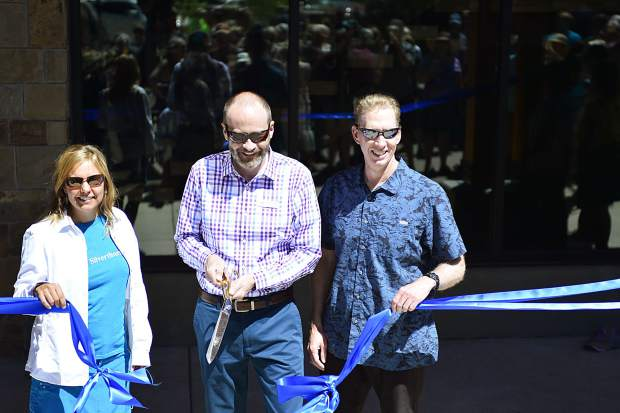 Silverthorne town officials cut a ribbon during Saturday's grand-opening ceremonies for the new $9 million Silverthorne Performing Arts Center.