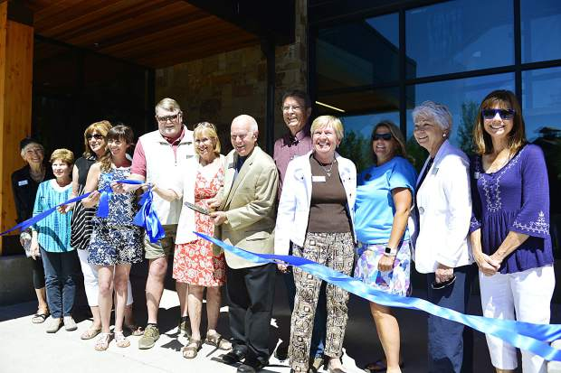 Representatives of the Lake Dillon Theatre Company, including the president and members of its board of directors, cut a ribbon during Saturday's grand-opening ceremonies for the new $9 million Silverthorne Performing Arts Center.