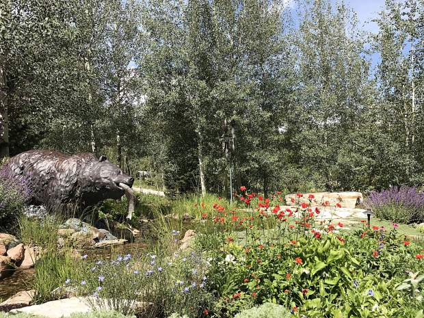 This bear statue intrigued visitors to this Silverthorne garden as part of the Summit County Garden Tour.