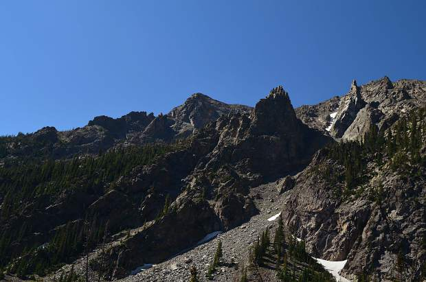 The craggy north side of Buffalo Mountain looking up from the Gore Range Trail near Silverthorne.