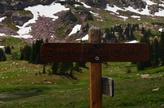 A signpost designating the intersection of the Gore Range Trail with Meadow Creek Trail, which one can access from Frisco.