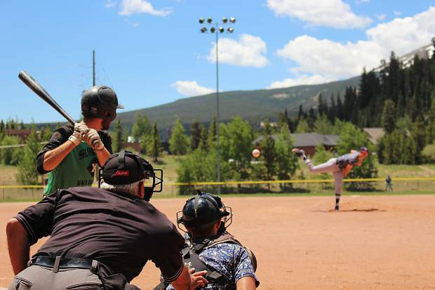 The Grand Junction Rocky Mountain Oysters pitch to Summit's John Andrews in the first game of Thursday's doubleheader in Breckenridge.