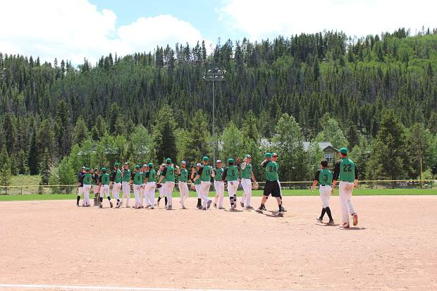 The Summit Extreme Black Diamonds shake hands after beating the Grand Junction Rocky Mountain Oysters, 7-5, in the first game of Thursday's doubelheader.