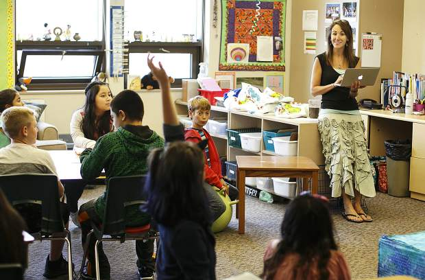 Silverthorne Elementary fifth-grade teacher Liz McFarland leads a class on their first day Thursday morning, Aug. 24.