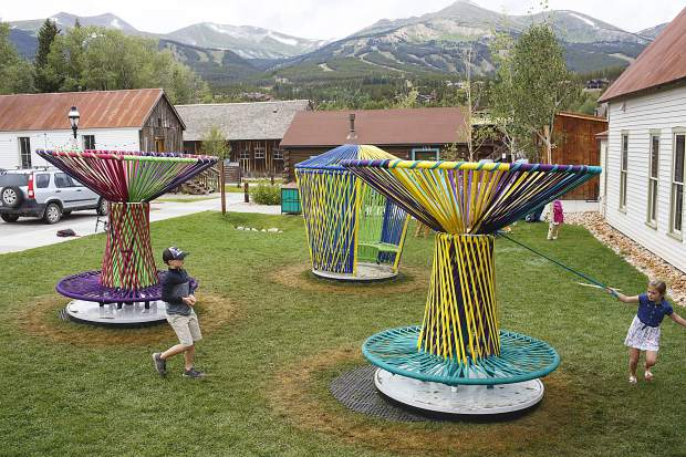 Children interact with the Los Trompos in the Arts District of the Breckenridge International Festival of the Arts Tuesday, Aug. 15.