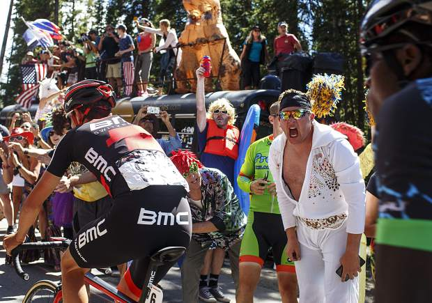 Spectators on Boreas Pass Road cheer on the road cyclists participating in the Colorado Classic's Stage 2 Race on Friday, Aug. 11 in Breckenridge.
