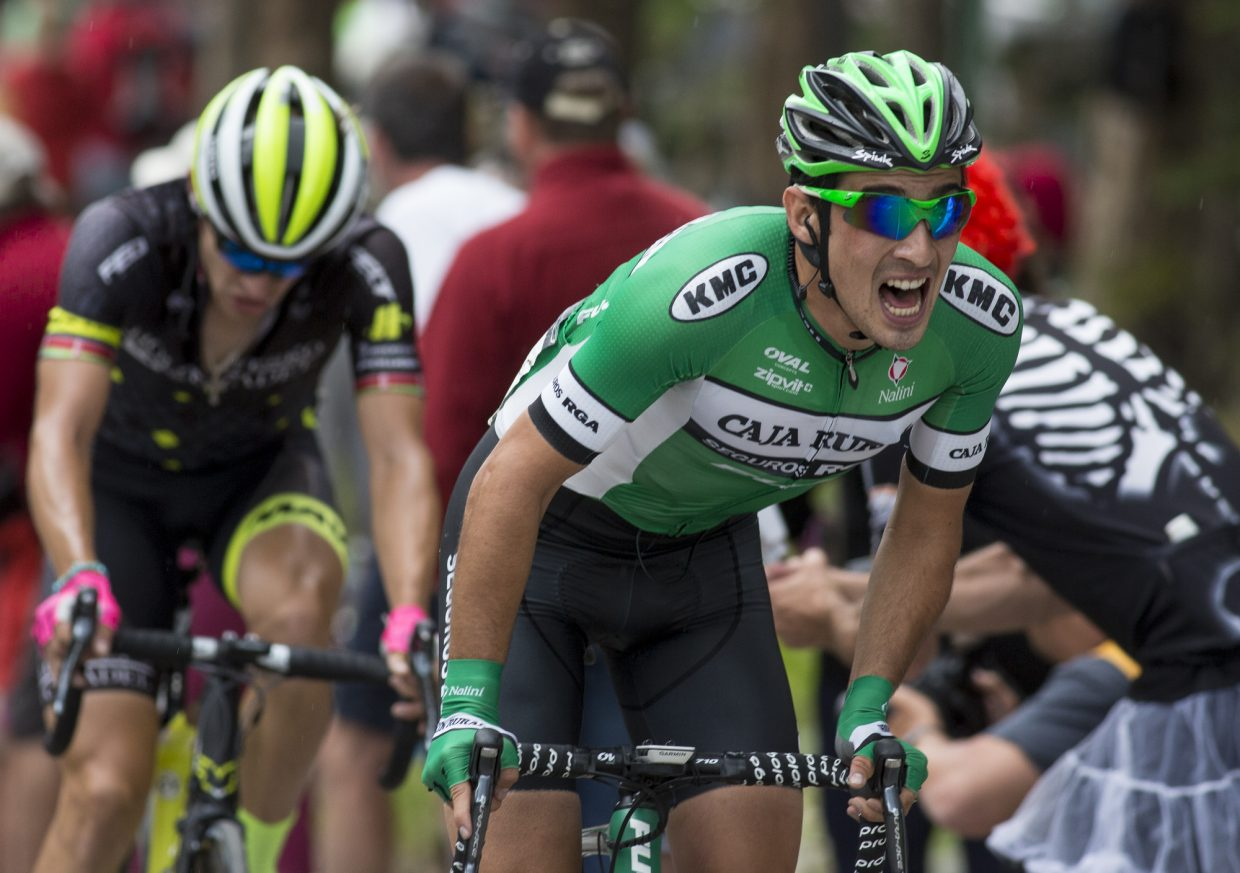 Road cyclists compete in the Colorado Classic Stage 2 men's race through Breckenridge's Main Street Friday, Aug. 11.