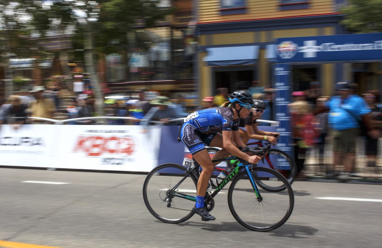 Road cyclists compete in the Colorado Classic Stage 2 women's race through Breckenridge's Main Street Friday, Aug. 11.