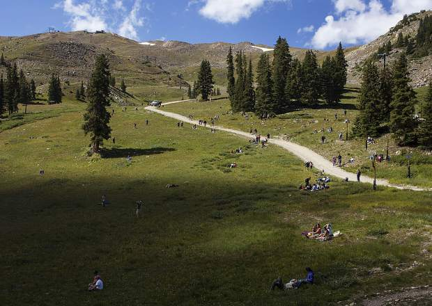 Solar eclipse viewers spread out on Arapaho Basin Ski Resort Monday, Aug. 21.