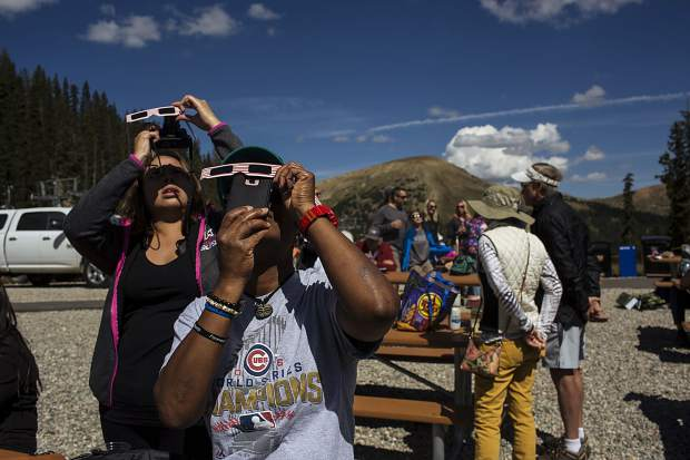 Solar eclipse viewers Monday, Aug. 21, at Arapahoe Basin.