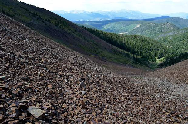 Looking down the first scree field towards where Little French Gulch leaves treeline, and all sense of trail is lost.