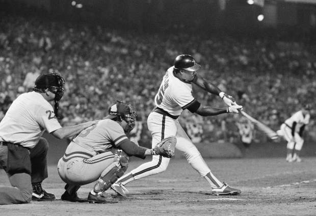 FILE - In this Oct. 5, 1982, file photo, California Angels' Don Baylor swings away during the sixth inning in Game 1 of the American League Championship Series against the Milwaukee Brewers, in Anaheim, Calif. Don Baylor, the 1979 AL MVP with the California Angels who went on to become manager of the year with the Colorado Rockies in 1995, has died. He was 68. Baylor died Monday, Aug. 7, 2017, at a hospital in Austin, Texas, his son, Don Baylor Jr., told the Austin American-Statesman. (AP Photo/File)
