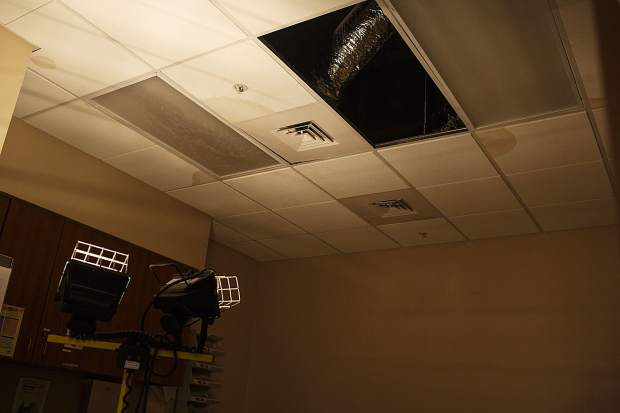 The water has damaged the electrical systems above the Peak One Surgery Center rooms in Frisco, due to the flooding that occurred on Tuesday evening.