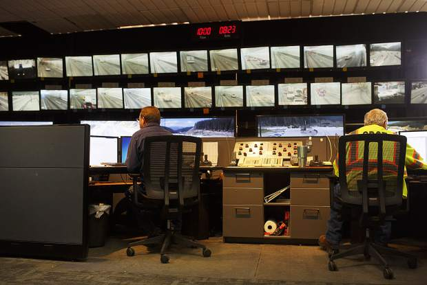 Scenes from inside the Eisenhower Tunnel's control room full of monitors of from video cameras Wednesday, Aug. 23, on Loveland Pass.