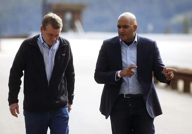 Sen. Michael Bennet, left, tours the Eisenhower Tunnel with CDOT Executive Director Shailen Bhatt, right, Wednesday, Aug. 23, on Loveland Pass, in part of the senator's visit to Colorado communities about maintaining the state's infrastructure.