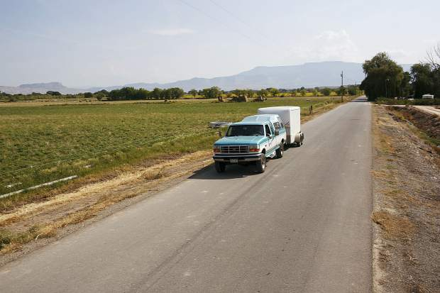 Chris Brower drives his Ford truck in Paliside growing country to pick up the produce Friday, Sept. 8, near Grand Junction.