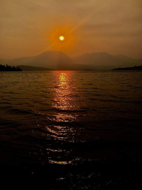 Sunset in smokey air on Sept. 5 over Lake Dillon.