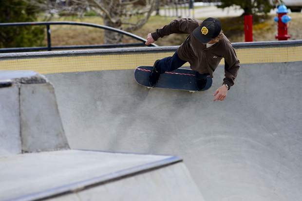Aaron Golbeck, 23, of Breckenridge rides high up in one of the bowls Wednesday at the Breckenridge skate park.