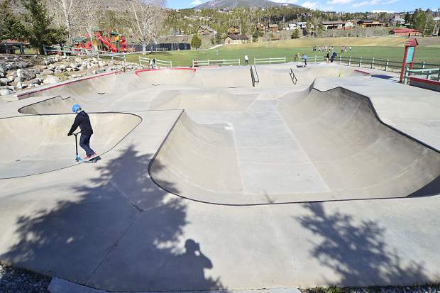 Skaters enjoy the city's skate park in Silverthorne on Wednesday.
