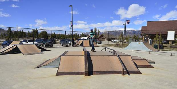 Skaters enjoy the city's skate park in Frisco on Wednesday.
