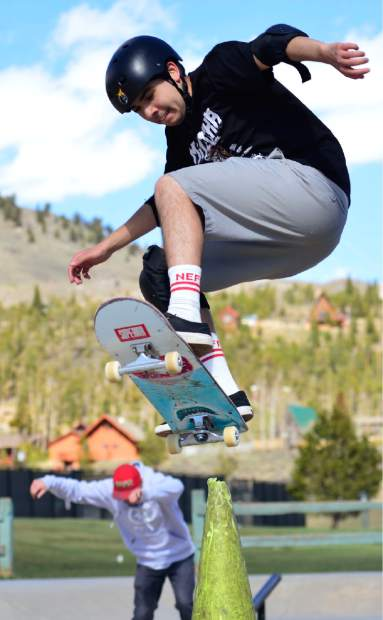 Marcos Mathieu, 18, of Silverthorne jumps over a cone Wednesday at the stake park in Silverthorne.