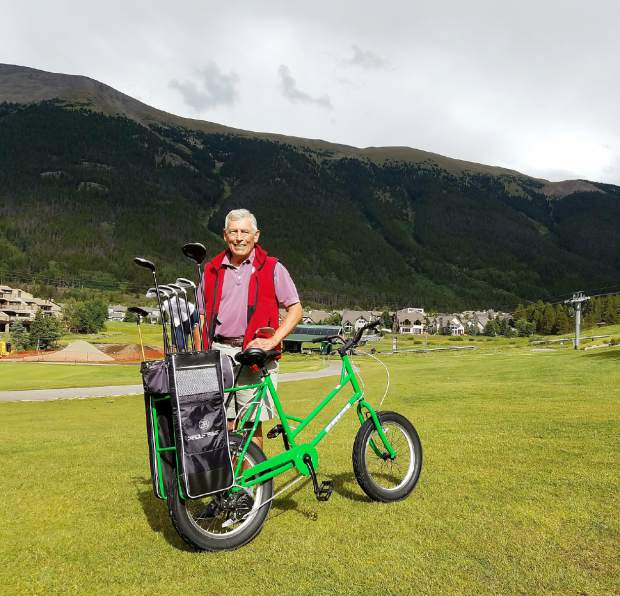 Summit County resident Don Sather with a golf bike at Copper Creek Golf Course. Sather started riding the bikes at Vail Golf Club two years ago and now takes the brand-new Copper bikes anytime he can.
