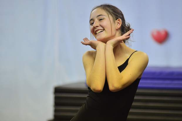 Hailey Pfeifer is all smiles during a Saturday dress rehearsal at Alpine Dance Academy ahead of their Halloween variety show on Friday in Breckenridge.